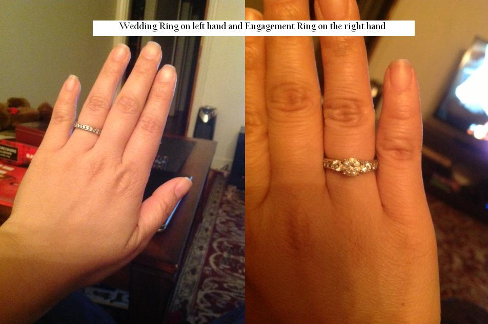 wearing wedding ring on the left hand and wearing